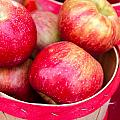 Red Apples In Baskets At Farmers Market by Teri Virbickis