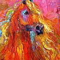 Red Arabian Horse Impressionistic Painting by Svetlana Novikova