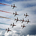 Red Arrows In Typhoon Formation by Mark Rogan