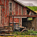 Red Barn And Truck In The Palouse by Priscilla Burgers