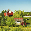 Red Barn And Water Mill On Farm In Maine by Keith Webber Jr