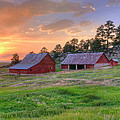 Red Barn At Sunset by Richard Raul Photography