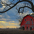 Red Barn At Sunset by Wanda Parsons