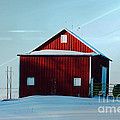 Red Barn During Illinois Winter by Luther Fine Art