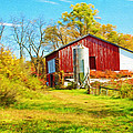 Red Barn In Autumn by Laura D Young