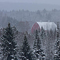 Red Barn In Maine by Jack Zievis