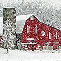 Red Barn In Snow by Jack Schultz