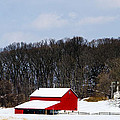 Red Barn In The Snow by Judy Wolinsky