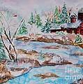 Red Barn In Winter by Ellen Levinson