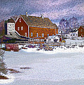 Red Barn In Winter by Nancy Griswold
