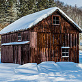 Red Barn In Winter by Ray Sheley