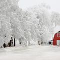 Red Barn In Winter by Rebecca Renfro