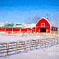 Red Barn - Painterly by Les Palenik