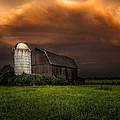 Red Barn Stormy Sky - Rustic Dreams by Gary Heller