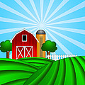 Red Barn With Grain Silo On Green Pasture Illustration by Jit Lim