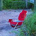 Red Beach Chair by Chuck  Hicks