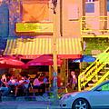 Red Bistro Umbrellas Cafe Cote Soleil Rue St Denis Yellow Staircase Montreal Scenes Carole Spandau by Carole Spandau