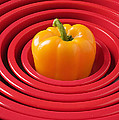 Red Bowls And Pepper by Garry Gay