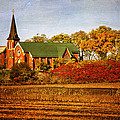 Red Brick Church In Autumn by Peggy Collins