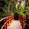 Red Bridge In Southern Plantation by David Smith