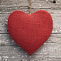 Red Burlap Heart On Vintage Table by Leslie Banks