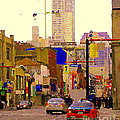 Red Cab On Gerrard Chinatown Morning Toronto City Scape Paintings Canadian Urban Art Carole Spandau by Carole Spandau