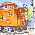 Red Caboose With Signal  by Kip DeVore