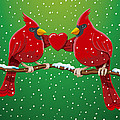 Red Cardinal Bird Pair Heart Christmas by Frank Ramspott