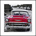 Red Chevy Bel Aire Original Signed Mini by Edward Fielding