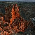 Red Dawn Breaking On Spires In Grand Canyon National Park Vertical by Shawn O'Brien