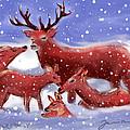 Red Deer Family by Jean Pacheco Ravinski