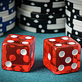 Red Dice And Playing Chips by Brandon Bourdages