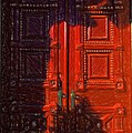 Red Door Behind Mysterious Shadow  by L Wright