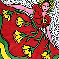 Red Dress With Yellow Roses by Monique Montney