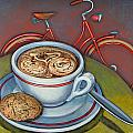 Red Dutch Bicycle With Cappuccino And Amaretti by Mark Jones