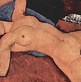 Red Female Nude Painting by Amedeo Modigliani