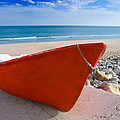 Red Fishing Boat Algarve Portugal by Amanda Elwell
