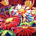 Red Floral Mishmash by Kathy Braud