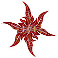 Red Flower Fantasy Designs Abstract Holiday Art By Omaste Witkow by Omaste Witkowski