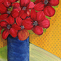 Red Flowers In A Blue Vase by Lee Owenby