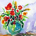 Red Flowers In A Vase by Cristina Stefan