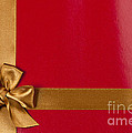 Red Gift Background With Gold Ribbon by Elena Elisseeva