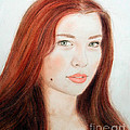 Red Hair And Blue Eyed Beauty With A Beauty Mark by Jim Fitzpatrick