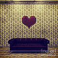 Red Heart And Purple Couch In A Gold Victorian Room by Beverly Claire Kaiya