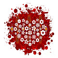 Red Heart Of Flowers Fantasy Designs Abstract Holiday Art By Oma by Omaste Witkowski