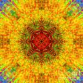 Red Heart Sun Rainbow Mandala by Susan Bloom