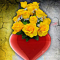 Red Heart Vase With Yellow Roses by Marvin Blaine