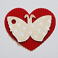 Red Heart With Butterfly by Annie Adkins