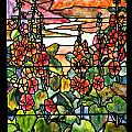 Stained Glass Tiffany Red Hollyhocks In Landscape In Watercolor by Donna Walsh