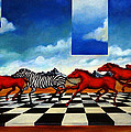 Red Horses With Zebra by Valerie Vescovi
